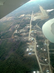 Aerial view of Bettles and Evansville (Note mile-long runway in upper right corner for scale).